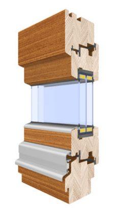 Triple glazed outward opening window wood